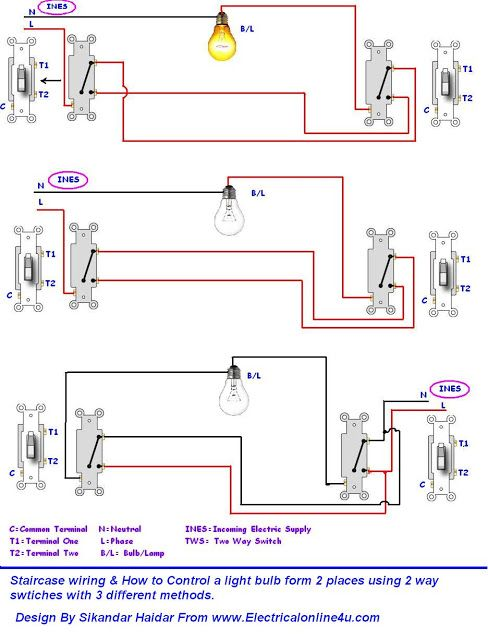 Outstanding 3 Different Method Of Staircase Wiring With Diagram And Complete Dandim Mohammedshrine Wiring Diagrams Dandimmohammedshrineorg