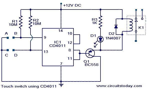 Excellent Touch Switch Using Cd4011 Electronic Circuits And Diagrams Dandim Mohammedshrine Wiring Diagrams Dandimmohammedshrineorg