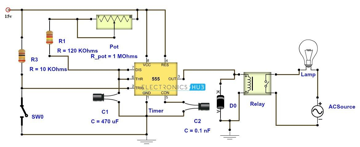 Admirable Adjustable Timer Circuit Diagram With Relay Output Electronics Dandim Mohammedshrine Wiring Diagrams Dandimmohammedshrineorg