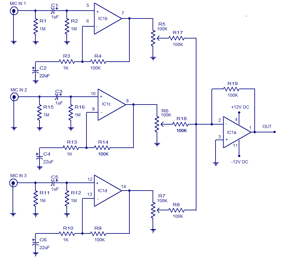 Awesome 3 Input Microphone Preamplifier Electronic Circuits And Diagrams Dandim Mohammedshrine Wiring Diagrams Dandimmohammedshrineorg