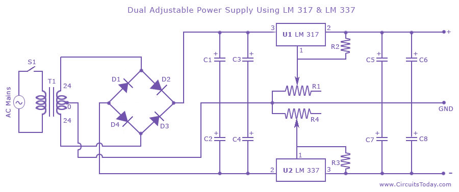 Remarkable Dual Variable Power Supply With Lm337 And Lm317 Electrical Dandim Mohammedshrine Wiring Diagrams Dandimmohammedshrineorg